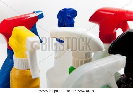 Assorted Cleaning Spray Bottles