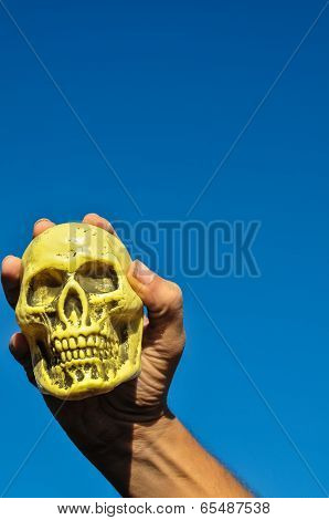 Ancient Vintage Old Doll with Human Skull