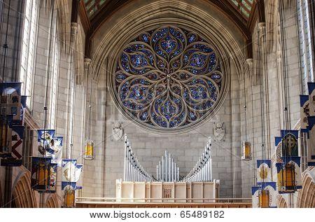Pipe Organ Inside Church.