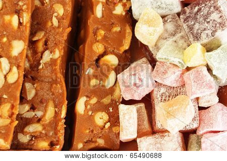 tasty turkish delight with sherbet with nuts close-up