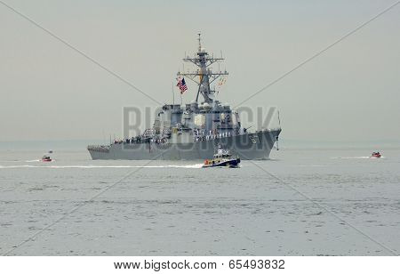 USS Cole guided missile destroyer of the United States Navy during parade of ships Fleet Week 2014