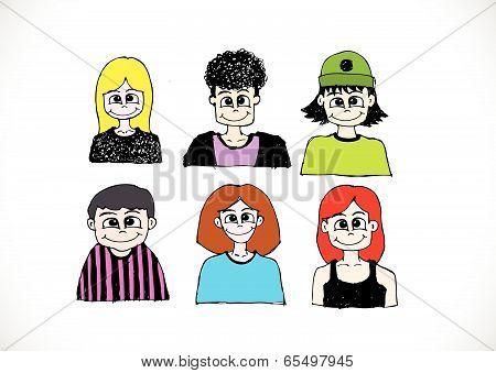 Set various emotions people cartoon faces