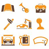 stock photo of hooters  - set of 9 car parts and auto icons with brown and orange color theme - JPG