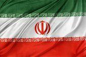 image of iranian  - Closeup of silky Iranian flag - JPG