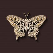 stock photo of brooch  - pearl brooch butterfly  - JPG