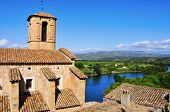 stock photo of cardo  - Esglesia Vella Church and Ebro River in Miravet - JPG