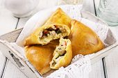 stock photo of samosa  - baked samosa with chicken - JPG