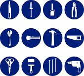 picture of hammer drill  - Tools blue and white icons with wrench screwdriver flashlight pliers drill saw nails hammer stiletto scissors brush tape - JPG