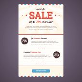 stock photo of newsletter  - Newsletter template design in flat style with discount offer - JPG