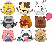 picture of hamster  - Illustration of a Set of Cute and Cuddly Animals - JPG