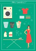 image of centrifuge  - 50s housewife engaged in washing - JPG