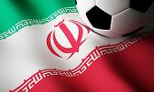 picture of iranian  - Iranian flag with soccer ball - JPG