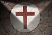 stock photo of porphyry  - Floor with blocks of porphyry white marble and Christian cross of bordeaux marble with shadows - JPG