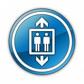 stock photo of elevator icon  - Icon Button Pictogram Image Illustration with Elevator symbol - JPG