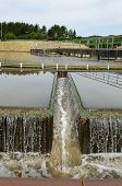 pic of sewage  - Industrial sewage waste water treatment cleanment mechanism move and filtering water flow in basin pool - JPG