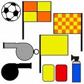 stock photo of offside  - Cartoon illustration showing tools commonly used by soccer referees - JPG