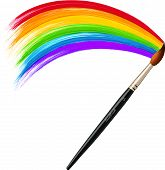 foto of acrylic painting  - Vector brush painting colorfyl acrylic bright rainbow - JPG