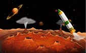 image of outerspace  - Illustration of a rocket in the outerspace - JPG