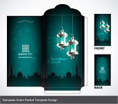stock photo of hari raya  - Vector 3D Muslim Pelita Oil Lamp Ramadan Money Green Packet Design - JPG