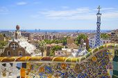 stock photo of gaudi barcelona  - beautiful park guell in the city of barcelona - JPG