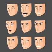 stock photo of cunning  - Collection of nine cartoon man emotion faces - JPG