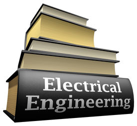 stock photo of electrical engineering  - Five thick old education books on pile - JPG
