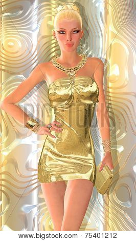 Blonde hair and a gold dress