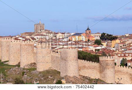 Old City Wall In Avila, Spain