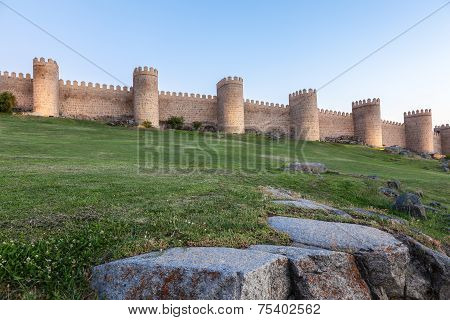 Ancient City Wall In Avila