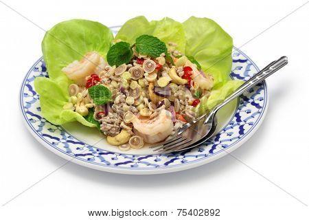 spicy lemongrass salad, yam takrai, thai cuisine isolated on white background
