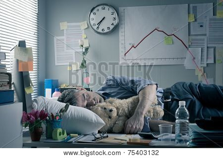 Funny Office Worker Sleeping At Workplace
