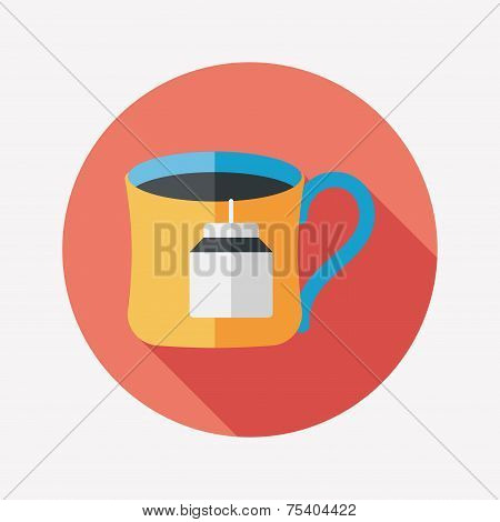 Teabag Flat Icon With Long Shadow,eps10