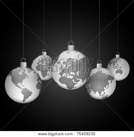 Christmas ornaments with world dotted maps - gray on black background - Christmas travel - Vector eps10