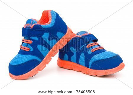 Pair Of Blue Sporty Shoes For Kid On White