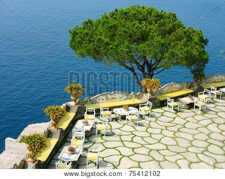 Traditional open air terrace at the Amalfi Coast in South Italy