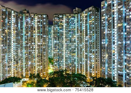 Compact life in Hong Kong at night