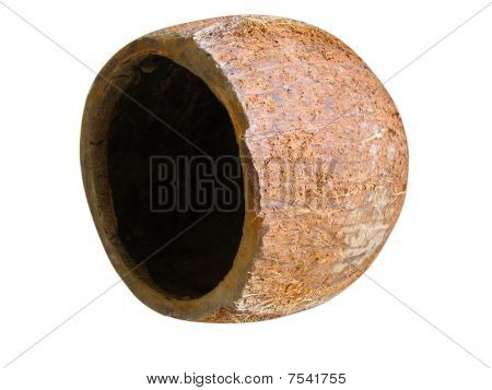 Cracked Coconut Isolated Over White