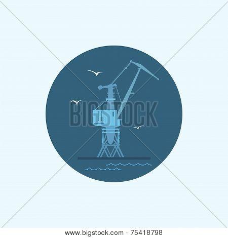 Icon with colored cargo crane  , vector illustration