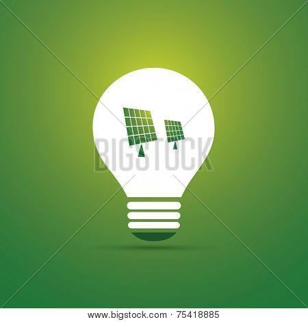 Green Eco Energy Concept Icon - Solar Panel Inside the Light Bulb - Solar Energy