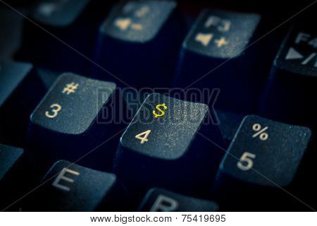 Money Keyboard With Gold Dollar Sign