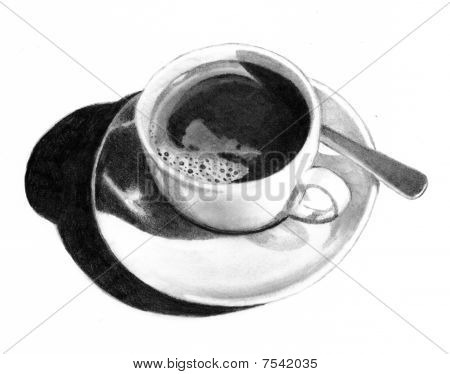Pencil Drawing of Cup with Coffee
