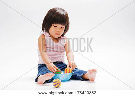 Asian Girl Sad And Looking In Left