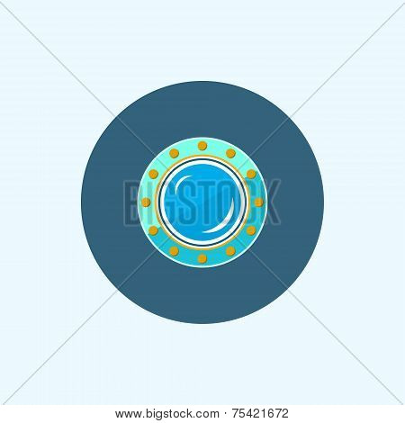 Icon With Colored Porthole, Vector Illustration