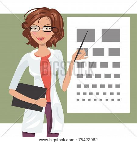 Illustration Of Cartoon Girl Ophthalmologist