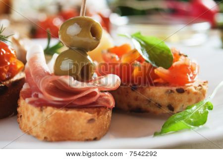 Bruschette With Tomato And Olives