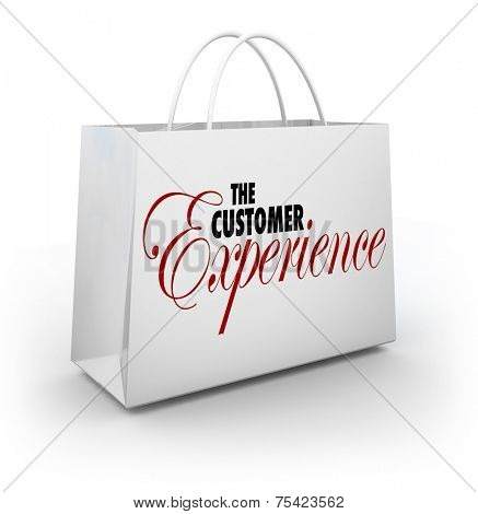 The Customer Experience words on a shopping bag advertising client or buyer satisfaction at a store or retailer from browsing to purchase