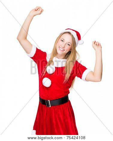 Thrill woman with Christmas dress