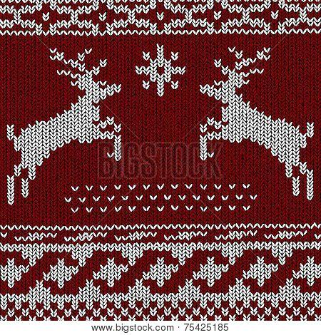 Christmas Background - Norwegian Knitting Patterns Vector