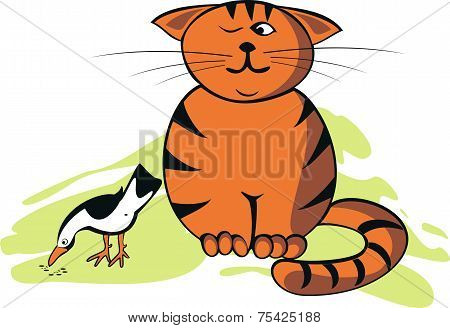 Vector Illustration Funny Cat And Bird.eps