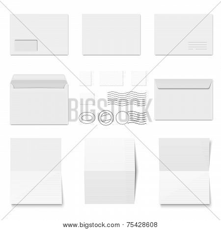 Collection Of White Envelopes With Copy Paper And Postmarks